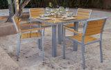 Moderne Europese eenvoudig Polywood Vierkante Lijst 4 het Stapelen Reeks van het Meubilair van het Restaurant van Stoelen de Openlucht