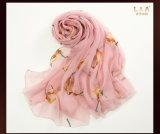 Розовые Silk шарфы печатание птицы