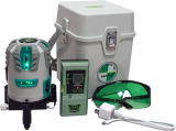 Nivel verde del laser de vigas del trazador de líneas 5 del laser con el detector del laser de la batería de la potencia