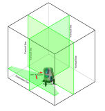 Nível verde do laser de feixes do forro 5 do laser com o detetor do laser do banco da potência