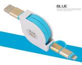2 в 1 кабеле поручать и передачи данных USB TPE материальном Retractable для Ios и Android телефонов