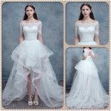 Vestido de casamento High-Low da assimetria das luvas curtas do fora--Ombro (Dream-100082)
