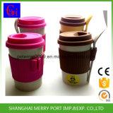 カスタムロゴのシリコーンのふたおよびシリコーンの袖が付いている使用できるプラントファイバーの茶マグ