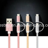 TPE colorida 2 en 1 cable micro del cargador de los datos del USB para el androide y el iPhone