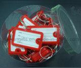 Etiquetas dominantes plásticas del color multi barato con la escritura de la etiqueta en blanco de la identificación