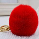 Pompoms шерсти Keychain 8-10cm шарика шарма мешка шарика шерсти кролика способа волосатые