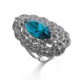 Anillo de plata de la joyería del zafiro de la vendimia y Vagula Rhinestone azul