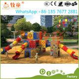 La tarjeta al aire libre del PE de los niños resbala y monta el patio (WOP-046B)