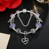 Cuore al pendente del cuore & ai monili viola dei braccialetti dei branelli di Murano della catena di sicurezza