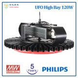 5 años de la garantía 120W de alta luz de la bahía LED del UFO con la viruta de Philips LED y la fuente de alimentación de Meanwell