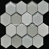 8m m Thickness Hexagonal Glass Wall Mosaic con Ice Crackle Ceramic