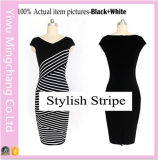 Europa 2016 und Amerika Black and White Striped Plus Size Slimming Pencil Dress