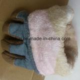 寒い気候の働きのための冬の皮手袋、冬の働く手袋、暖かい手袋を働かせる革冬牛グレーンレザーの羊毛質の並べられた冬の暖かい働く手袋