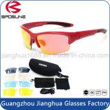 Envoltório quente do vintage da venda em torno do jogo cheio polarizado dos Eyeglasses da lente da borda dos óculos de sol da motocicleta de Rx meio frame preto para a equitação de ciclagem