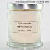 Candela in vaso di vetro con il coperchio del metallo, candela romantica della soia di Scetned