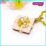 Encanto rosado encantador del regalo de Enaml de la aleación barata al por mayor con el cristal
