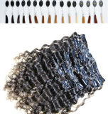 180g Kinky Curlyの加工されていないHair Extension Clip