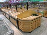 Cremalheira do vegetal do indicador da madeira e do metal do supermercado