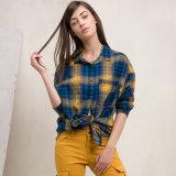 Le coton chaud de plaid de 2016 femmes de vente tissé complète le chemisier