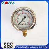 Calibre de pressão enchido glicerina da caixa de aço inoxidável com soquete de bronze