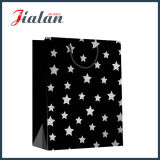 Papel preto Kraft Hot Stamping Stars Shopping Gift Paper Bag