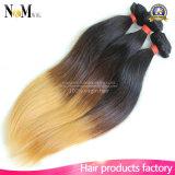 Weave malaio do cabelo de Ombre do Virgin ondulado de seda por atacado da extensão do cabelo reto