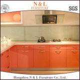 2016 armadi da cucina verniciati moderni di colore rosa di rivestimento di Lacuqer di nuovo disegno