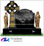 Pietra tombale trasversale nera del granito di disegno dello Shanxi di stile dell'Irlanda