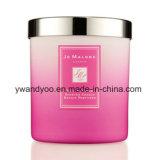 Vela de vidro luxuosa da cor-de-rosa Scented da soja com tampa do metal
