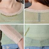 Metallische Kettenkontrast-Farben-Strickjacke für Frauen