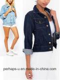 Venta al por mayor femenina retra y atractiva de la chaqueta del dril de algodón