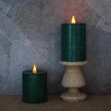 Flache Oberseite LED, die flammenlose dunkelgrüne Kerze tanzt