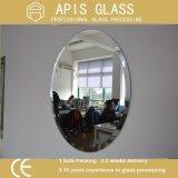 glace enduite de miroir de ruban clair ovale de 6mm avec les bords coniques