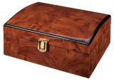 Rectángulo de regalo de madera laqueado alto lustre del embalaje de la joyería con la tapa del arco