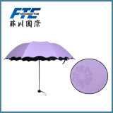 Super Light Three Folding Manual Open Outdoor Umbrella