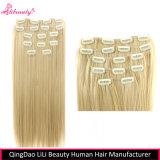 Clip sin procesar del pelo humano de la venta al por mayor el 100% en extensiones del pelo
