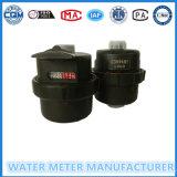 Medidor de água Volumetric da roda material de nylon preta da aleta