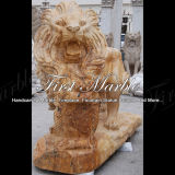 Estátua dourada do leão do Travertine para a decoração Home Ma-565