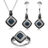 Светотеневые ювелирные изделия диаманта установили стерлинговый серебр 925