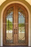 Puertas revestidas del hierro labrado de las puertas de entrada del polvo de bronce antiguo del final