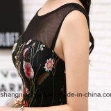 Schwarzer Abschlussball kleidet kurzes Stickerei-Blumen-Cocktailparty-Kleid