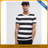 OEM 남자는 적당한 국자 목 흑백 줄무늬 t-셔츠를 체중을 줄인다
