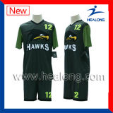 完全な昇華セットされる高貴な緑および黒いカスタマイズされたデザインサッカー(セットされるフットボール)