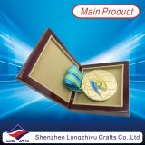 Оман Wood Shield Award Metal Wood Plate Plaque с Green Color Velvet Box (lzy2013-00008)