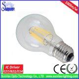 bulbo del filamento LED de 100lm/W A60 E27 Edison 8W