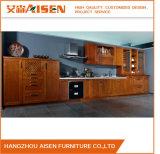 Compartiment en bois foncé de cuisine de meubles de maison en bois solide de couleur