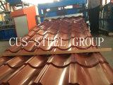 金属の屋根のプロフィールシートかボックスは屋根ふきシートの側面図を描いた