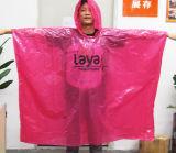 Poncho remplaçable de pluie de PE de pluie de poncho de vente en gros de publicité de PE rose de cadeaux