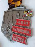 、2人のリレー良質、リボン3Dロゴが付いているメダル