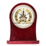 Reloj de madera del esqueleto del escritorio del alto final del lustre del palo de rosa